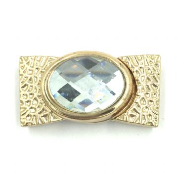 Champagne gold buckle clasp with clear stone - 34mm x 18mm - inside 15mm x 3mm